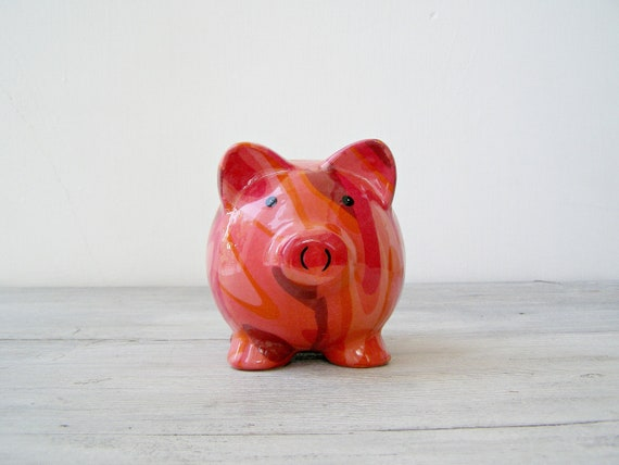 Vintage Piggy Bank, Pink ceramic pig coin bank, Vintage piglet, saving box