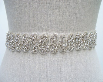 Jeweled Bridal Sash, Rhinestone Sash, Beaded Bridal Belt, Bridal Dress Sash, Wedding Sash, Bridal Belt, Crystal Sash, Swarovski Sash