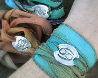 Zodiac- Silk Wrap Bracelet- Astrological Birthday Jewelry- Artisan Handcrafted-Recycled Fine Silver