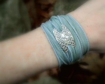 Celtic Knot Bracelet- Silver & Silk Wrap Bracelet- Artisan Handcrafted with Recycled Silver and Hand Dyed Silk