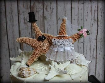 Star Fish Bride and Groom Wedding Cake Topper-Formal-Beach Themed Wedding Cake Topper