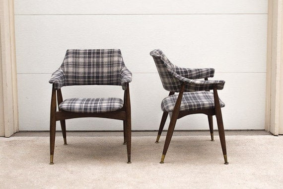 RESERVED Pair of Vintage Mid Century Custom Upholstered Thonet Style Chairs in Grey Plaid