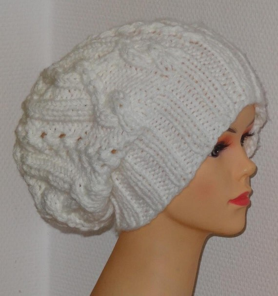 Handmade Knit Cable Hat Beanie Slouchy Hat Beanie Large for Men / Women WHITE Baggy cabled Slouchy hat Warm hat