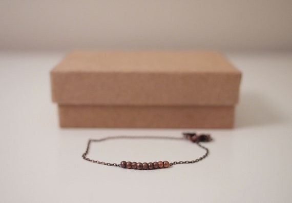Dainty Delicate Antique Copper Chain With Tiny Antique Copper Beads Bracelet