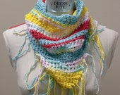 Free Holiday Shipping - Triangle scarf/shawl in bright teal, pink, yellow and white