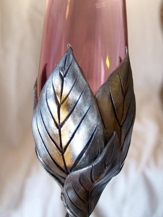 Pink Champagne Flute with Dark Silver and Gold  Leaves