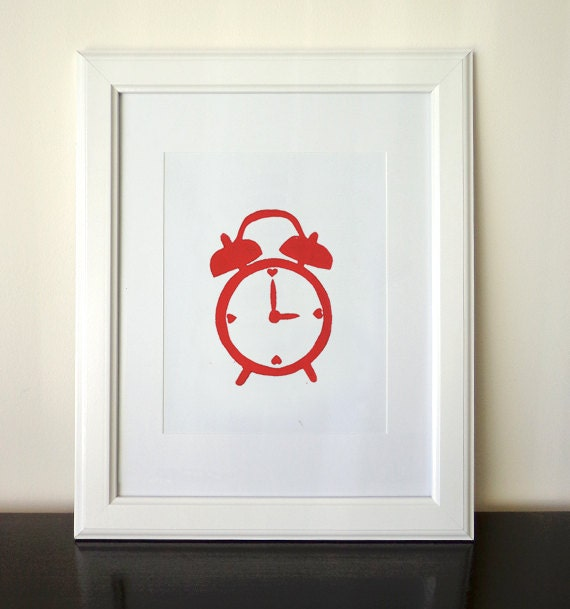 Love Clock - 8x10 Linocut Print Red - Alarm Clock Valentines Day Home Wall Art