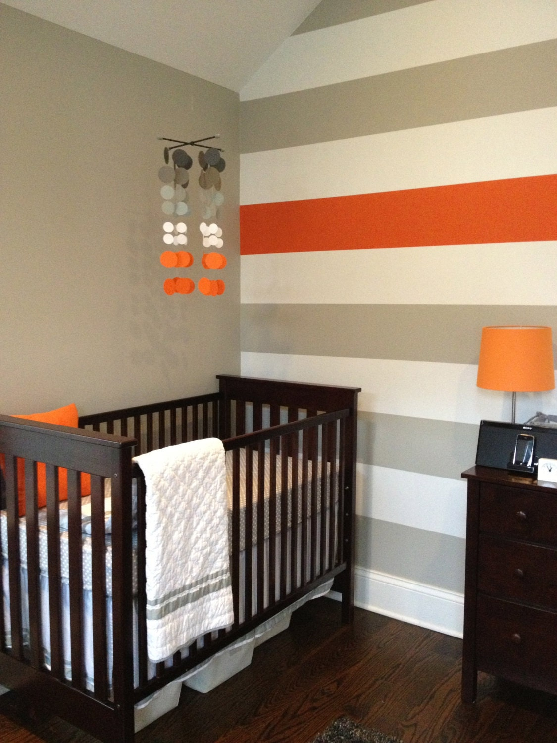 Grey and orange nursery mobile tangerine clouds for Painting stripes on walls in kids room
