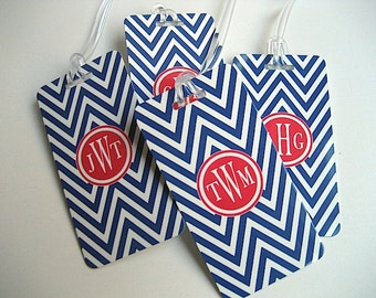 Luggage Tag - Family 4-Pack Chevron Luggage Tags-  Custom Monogram Luggage Tag Set