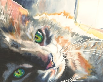 "5x7"" Cat Watercolor Giclee Fine Art Print [Print Created From My Original Custom Watercolor Pet Portrait]"