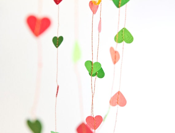 Red & Green Christmas Hearts Stitched Paper Garland Bunting Decoration