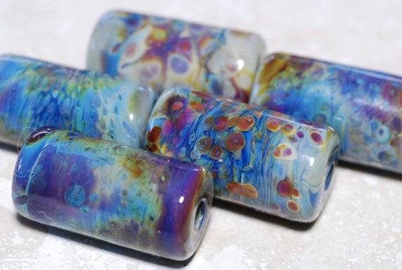 Blue Chalcedony Beads - Handmade Lampwork Glass Beads - Barrel Shaped Bead Set - SRA