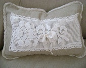 "Linen and Lace - 'Linen N' Lace Roses' Boudoir Pillow - 12"" x 16"" Down Alternative Pillow Form included - Shabby Chic - Paris Apartment"