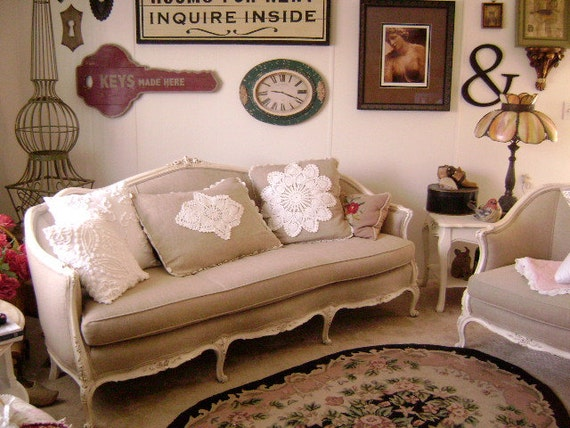"""CLASSIC 'Linen and Lace' - Large 28"""" x 20"""" Queen Down Feather Pillow - Natural Linen, Vintage Doily and Crocheted Lace Trimmings"""