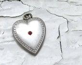 Art Nouveau Engraved Ruby Silver Heart Charm Pendant