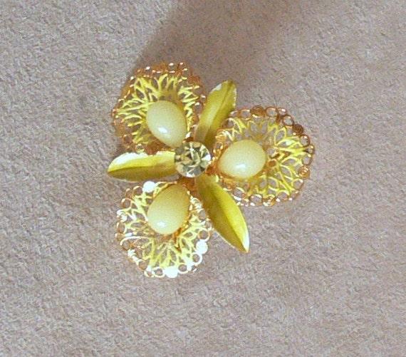 flower enamel glass beads yellow  Brooch