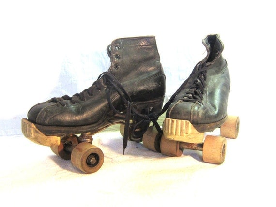 1920 Leather Black Roller Skates Wooden Wheels Hyde Chicago Gift for Him Sports Man Cave Home Prop Decor