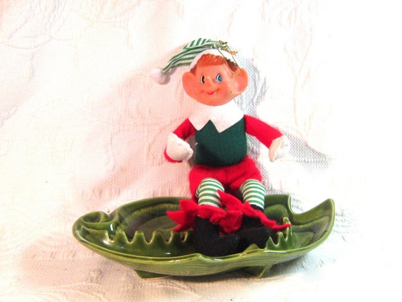 Mid Century Elf Doll FigureToy Ornament Christmas Holiday Home Decor Red Green Bendable  Cloth Stuffed