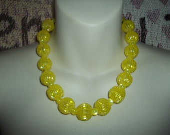 Beaded Yellow Seed Beaded Disco Ball Beads & Yellow Cats Eye Statement Necklace