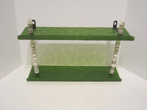 Vintage Lime Green Plastic Tiered Shelf