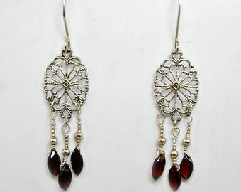 AAA Garnet & Sterling Silver Chandelier Earrings, January Birthstone, sterling filigree, January gemstone, deep red gemstone, petite dangle