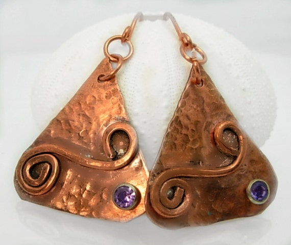 Hammered Copper Artisan Earrings, Purple crystal, Triangle with swirls