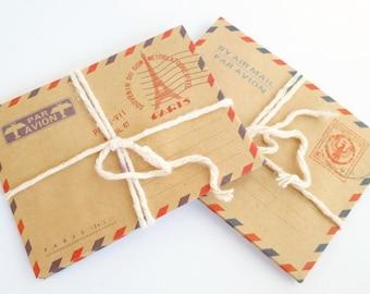 Mini Vintage Style Air Mail Envelopes : Set of 8