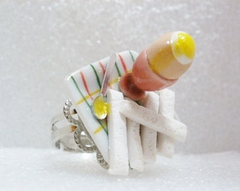 Boiled Egg and Soldiers Ring. Polymer Clay.