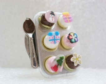 Christmas Cupcakes /muffin tray Ring. Polymer Clay.