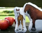 Horse Pillow Toys.  Organic Cotton Farm Playset from AlyParrott on Etsy. Made to order.