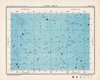 star map 61 celestial astronomy vintage celestial chart print