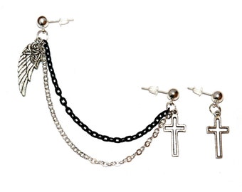 Cross Double Piercing Feather Charm