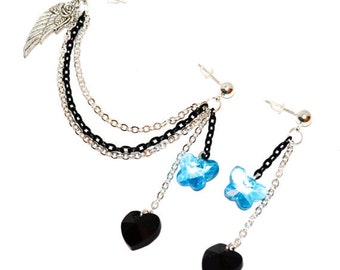 Heart and Butterfly Swarovski Crystal Heart Double Piercing Earring Set