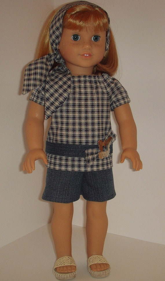 2 pc outfit with plaid peasant top and denim shorts for 18 inch dolls