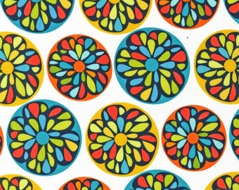 Robert Kaufman fabric for quilt or craft Modern by Robin Zingone Flower Circles in Citrus Fat Quarter