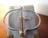 Vintage 1950s Ostrich Box Purse // Grey Ostrich Box Purse