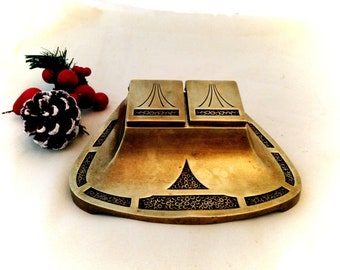 c1900 Art Nouveau BRONZE DOUBLE INKWELL - German Jugendstil - marked on base - Free Shipping