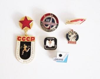 VINTAGE Soviet set of 6 PINS. Use in JEWELRY, mixed media art, wear it.