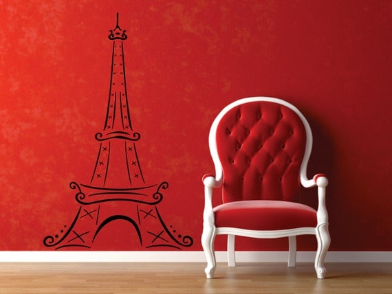 Extra Large (7 foot) Eiffel Tower Removable Vinyl Decal  FREE SHIPPING