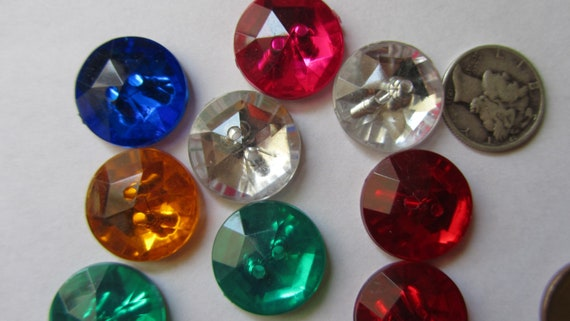 Vintage Assorted Gems Button Lot of 11