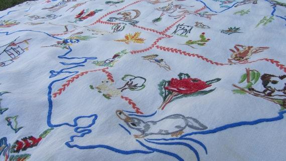 Vintage Austraila Embroidery Australian Tablecloth Wall Hanging Linen
