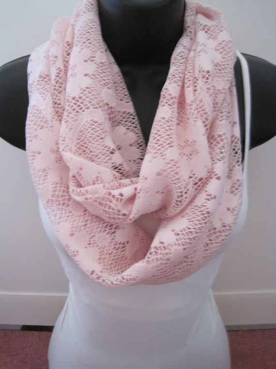 New Light Pink Stretch Lacey Flower Print Infinity Scarf