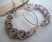 Wire Wrapped Spiral Moon Earrings