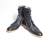 vintage inpired black lace up boots romper style  - FREE SHIPPING