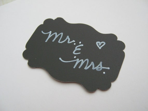 Ornate Rectangle Chalkboard Tag Labels for Weddings Favors Gifts and Paper Crafts - Set of  50 Black - Reusable