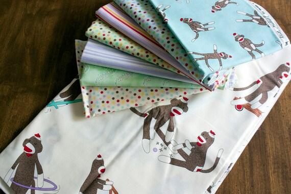 sock monkey fabric bundle // pink green blue white pastel // baby girl fabrics