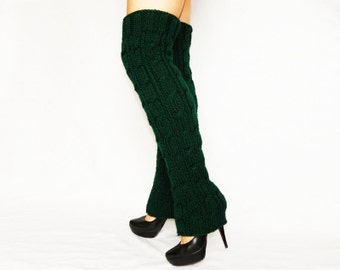 Winter Accessories Above-the-knee Knitted leg warmers Forest Green