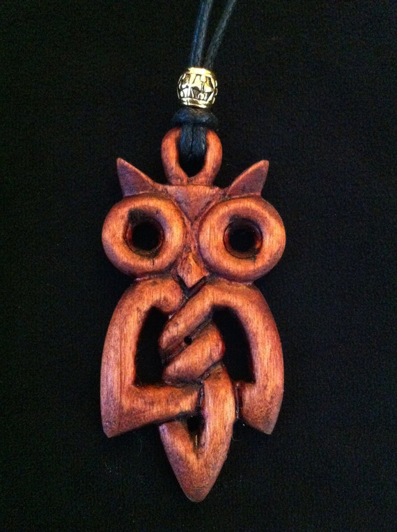 Hand Carved Wooden Celtic Knot Owl Pendant Necklace