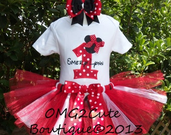 Minnie Mouse Birthday Outfit - On Sale-NO BOW -Red, White, and Black with shirt, and tutu PERSONALIZED