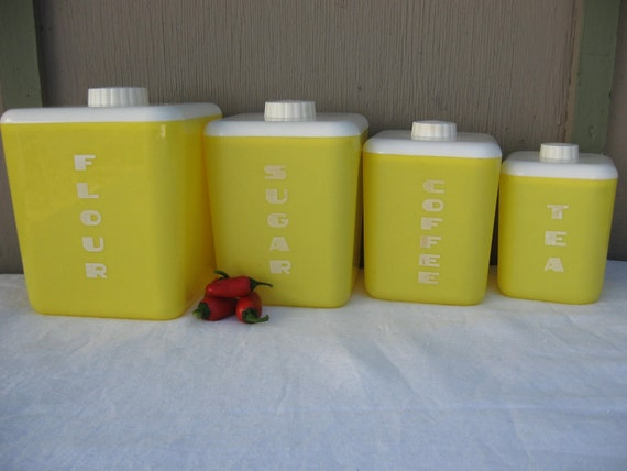 Kitchen canister set yellow plastic canister set by lustro for Kitchen set yellow